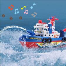 Electric Fire Boat Kids Bath Toys Led Flashing Light Up W/ Music Watercraft Gift