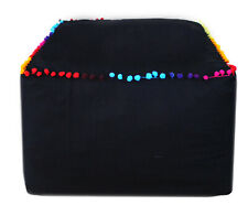 """18X18"""" Square Ottoman Pouf Cover Indian Solid Black Indian Footstool Case"""