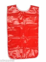 Childrens Childs Red PVC Painting Tabard Apron Wipe Clean For Art Craft Cooking
