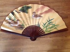 Vintage Chinese Oriental Hand Painted Folding Paper Wall Fan Decor 24 inches