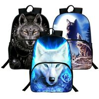 3D Animal Wolf Backpack School Bag Bookbag Travel Hiking Camping Daypack
