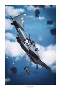 "WWII WW2 USN SBD Dauntless Midway Dick Best Aviation Art Photo Print - 12"" X 18"""