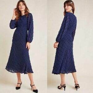 ANTHROPOLOGIE Eri+Ali Michaela Textured Midi Dress NAVY UK 10 BNWT rrp £130