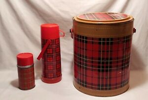 Vintage Hamilton Skotch Kooler Round Plaid Metal Cooler & 2 Aladdin Thermos