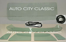 1956 Ford Pickup Truck Windshield Vent Door Back Glass Set Gaskets w/Chrm Green