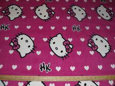 Fleece Fabric~ Hello Kitty Small Hearts on FUSCHIA anti pill BTY