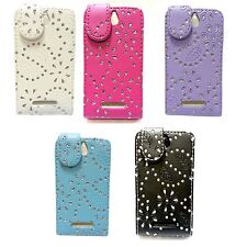 CASE FOR SONY XPERIA E GLITTER FLIP PU LEATHER IN VARIOUS COLOURS POUCH COVER
