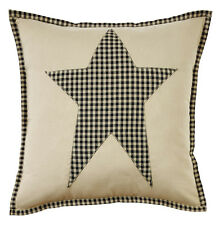 "Decorative Pillow Cover Plymouth Star Black Gingham Check Primitive Decor 16"""