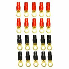 New listing 20 x 4 Awg 4 Gauge Boots 3/8 Wire Crimp Cable Gold Ring Terminal Red&Black