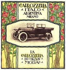 PUBBLICITA' 1919 CARROZZERIA ITALO ARGENTINA MILANO AUTO ISOTTA FRASCHINI CABRIO