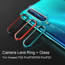 For Huawei P30 20 Pro Back Camera Lens Ring +Tempered Glass Film Protector Cover