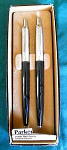 Parker Jotter Set Black Ballpoint Pen &  0.5mm Pencil Brass New In Box  England
