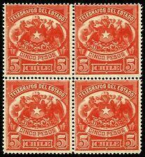 CHILE, TELEGRAPH STAMPS, 5 PESOS, YEAR 1883, MNH, BLOCK OF 4