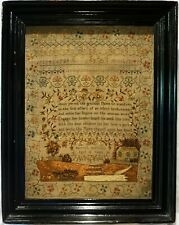 More details for early 19th century cottage & verse sampler by harriott bedhouse aged 12 - c.1840