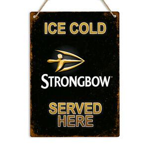 STRONGBOW CIDER Vintage Retro Style Metal Tin Wall Sign Plaque Man Cave Pub Bar
