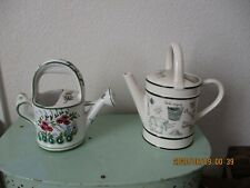 2 Porcelain Water Cans 1-Signed Made In Portugal 1- With Garden Scene