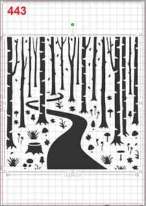 Forest tree Landscape Stencil MYLAR A4 sheet strong reusable Art Craft Wall Deco