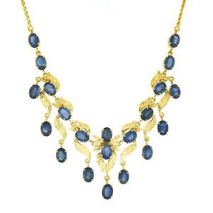 Vintage 18k Gold 18ctw GIA Oval Cornflower Blue Sapphire Leaf Collier Necklace