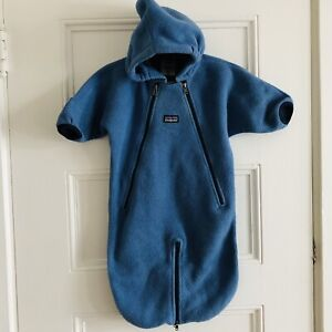 Patagonia Synchilla Fleece Baby Bunting Snowsuit Blue 6M ⭐️Great Condition⭐️