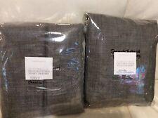 Restoration Hardware 2 Perennials Textured Linen Weave  Drapes 50x84 Charcoal