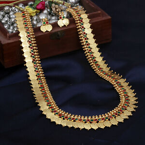 South Indian Bollywood Gold Plated Long Ginni Coin Necklace Set Temple Jewelry