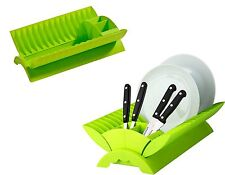 Plastic Dish Drainer Kitchen Rack Dinner Plates Dry Stand & Cutlery Holder Lime