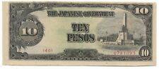 Rare Very Old Japanese WWII Japan War 10 Peso Dollar WW2 Collection Bank Note C1