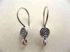 3 Pair Bali Sterling Silver Swirl Earwires 20mm