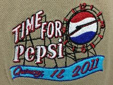Pepsi Clock Men's Polo Shirt Tan Khaki Quincy IL 2011 Soda Advertising Landmark
