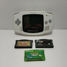 Nintendo GameBoy Advance White Handheld System & Pokemon Emerald 3 Game Lot READ