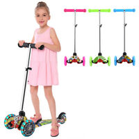 Age 3-12 Kid Scooter Deluxe Adjustable Kick Scooters Girls Boys 3 LED Wheel Gift