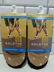 GOLDTOE Cushioned Low Cut Liner Socks 4 Pair  Women's Shoe Size 5-9 Black/Tan