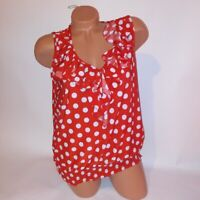 Jon & Ana Womens Tank Top Red White Polka Dots Ruffle Trim Stretchy Gathered