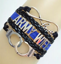 Infinity Love ARMY WIFE Handcuffs Freedom Charms Leather Braided Bracelet
