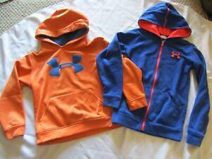 2 Lot YSM Youth Small: Zipper Blue/Bright Orange & Orange Pullover UNDER ARMOUR
