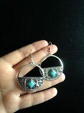 Turquoise Earrings Silver Hippie Ethnic Boho Belly Dance Tribal Bohemian A1045