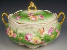 LOVELY LIMOGES HAND PAINTED ROSES RAISED GOLD COVERED CRACKER BISCUIT JAR
