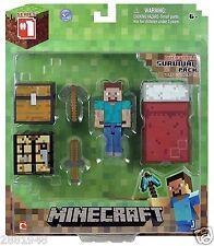 Paquete De Supervivencia Minecraft Overworld Steve Figura Y Accesorios Conjunto de Juego Juguete L @ @ K!
