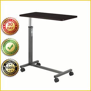 OVER BED TABLE TRAY Swivel Wheels Tilt Hospital Adjustable Rolling Bedside Trays