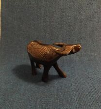 """Vintage Rosewood Hand Carved Water Buffalo Sculpture 6"""" x 4 1/2"""" x 2 1/2"""""""