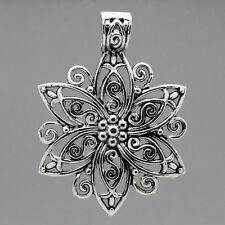 5 Antik Silber Filigran Blumen Charm Anhänger 6.6cm x 4.8cm B23485
