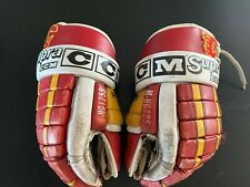 Vintage All Leather Ccm M-Hg125S Pro Gard Ccm Gloves Calgary Flames