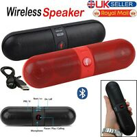 Portable Wireless Bluetooth Speaker Pill Outdoor Supports FM TF USB Functions UK