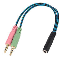 3.5mm 4 Pole 1 Female to Dual Male Gold Plated Stereo Audio Y Splitter Cable