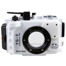 60M/195ft Underwater Waterproof Diving Case For Olympus TG-6 DSLR Camera White