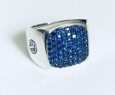 Ring New in 14K White Gold Blue Round Cut Sapphire Signet Men's