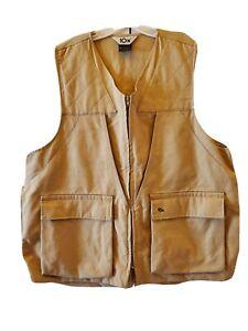 10x Hunting Shooting  Vest Men's Size XL Tan 100% Cotton USA Vintage Pockets