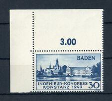 BADEN Nr.46I ** ECKRANDSTÜCK links oben - 30Pfg. Konstanz 1949 !! (133739)