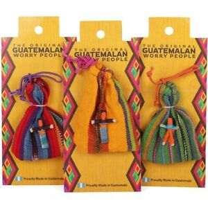 The Original Guatemalan Worry Dolls Hand Made with  bag 6 dolls inside
