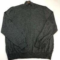 Black Brown 1826 Quarter Zip Jacket Mens XXL Gray Long Sleeve Casual Wool